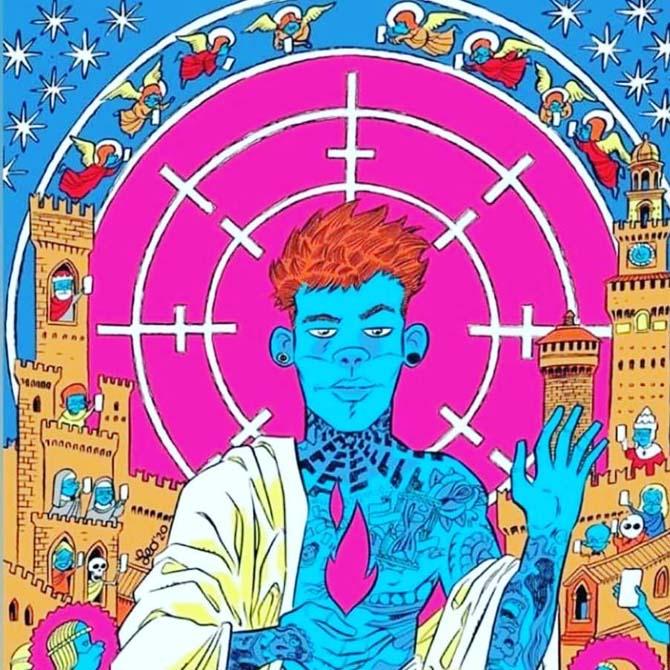 Leo Ortolani disegna la copertina di un brano di Fedez